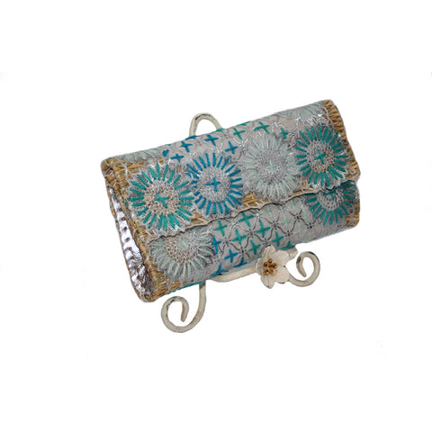 Turquoise and Silver Embroidered Small Clutch