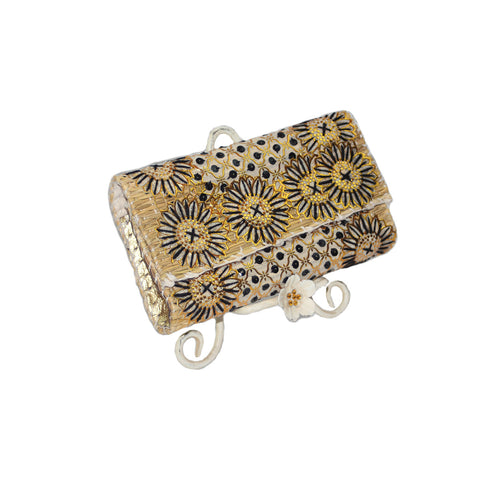 Black and Gold Sequin and Embroidered Small Clutch