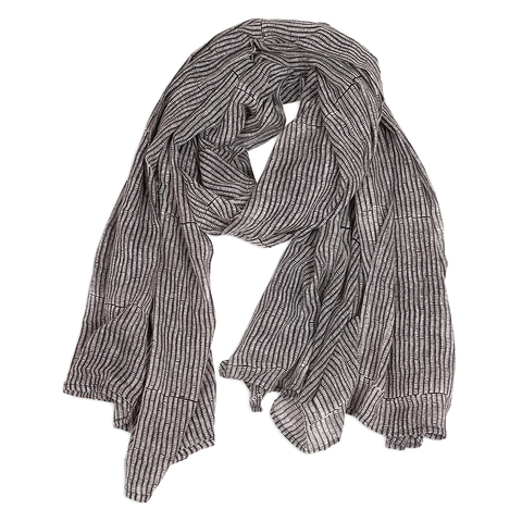 Hand-Blocked Printed Cotton Voile Scarves - Alice Stripes Midnight