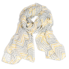 Hand-Blocked Printed Cotton Voile Scarves - Chevron