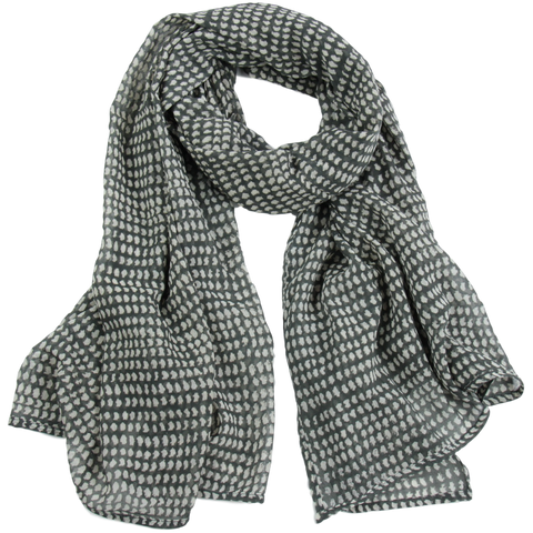 Hand-Blocked Printed Cotton Voile Scarves - Dark Grey/White Dot NEW!