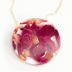 Sustainable Plant Based Eco-Resin Medium Full Moon Necklaces - Botanicals