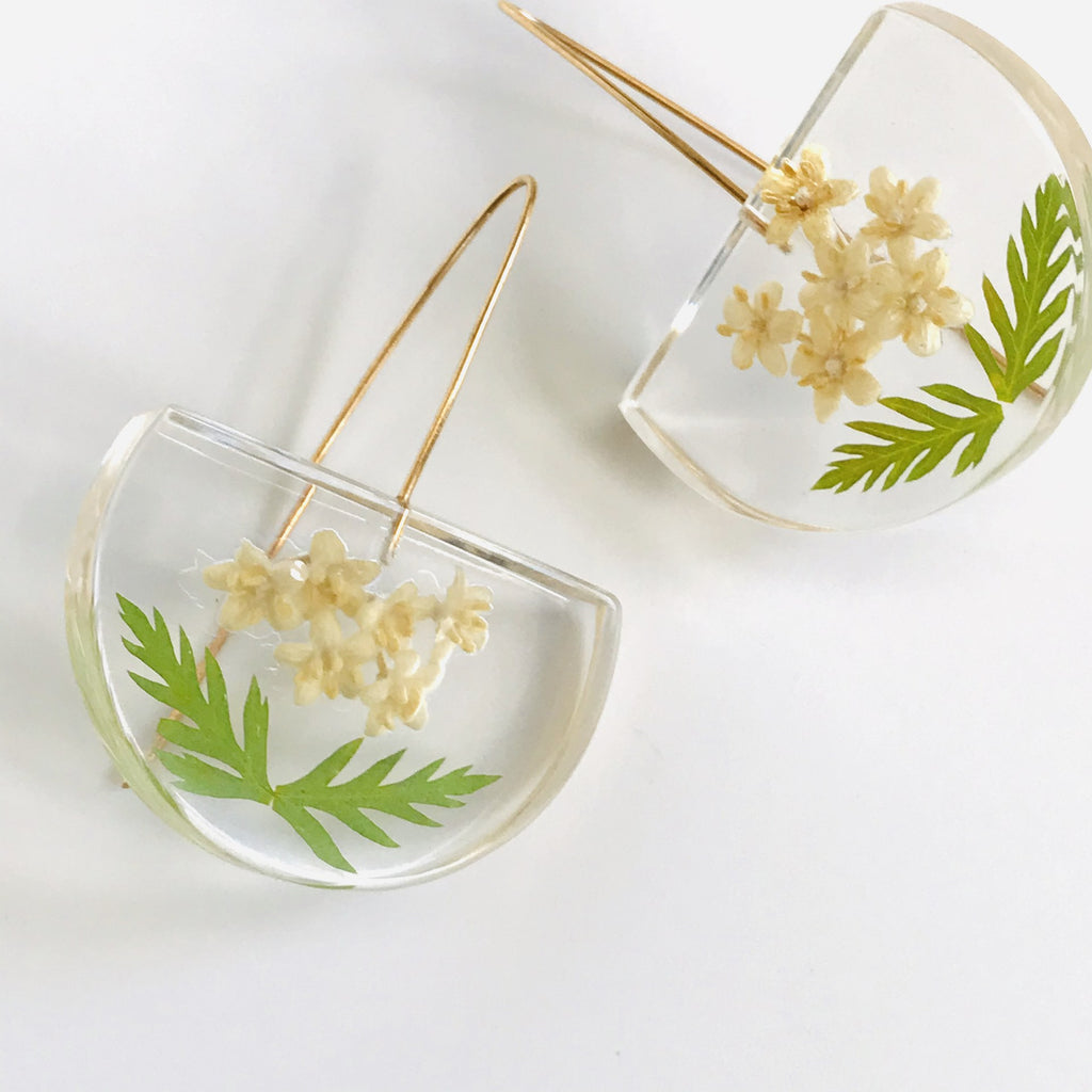 Sustainable Plant Based Eco-Resin Medium Half Moon Earrings - Botanicals