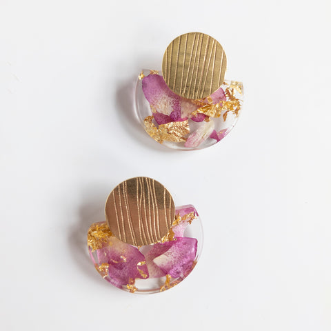 Sustainable Plant Based Eco-Resin Medium Half Moon w-Gold Leaf Accent Earrings - Botanicals
