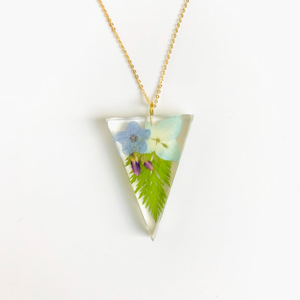 Sustainable Plant Based Eco-Resin Triangle Necklace - Botanicals