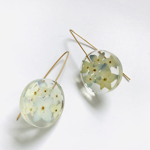 Sustainable Plant Based Eco-Resin Small Full Moon Earrings - Botanicals