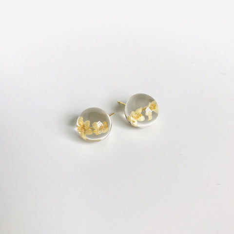 Sustainable Plant Based Eco-Resin Sphere Post Earrings - Botanicals