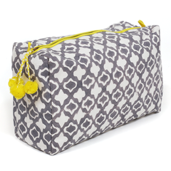Hand-Blocked Printed Cotton Toiletry/Cosmetic Bags - Eyelet