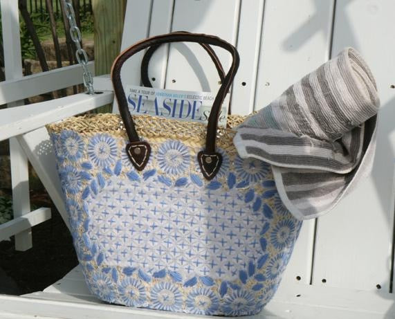 Serenity Blue Large Market Basket With Woven Top & Leather Handles
