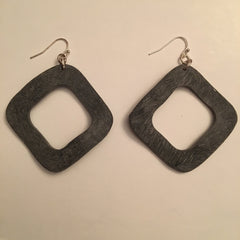 Handcarved Upcycled Bovine Horn Thermal Squares Earrings