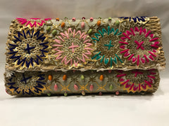 Multi color Beaded and Embroidered Small Clutch