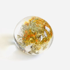 Sustainable Plant Based Eco-Resin Sphere Paperweight - Golden Moss