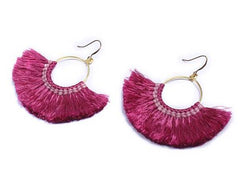 Half Moon 1 Color Tassel Earrings- Thailand NEW!