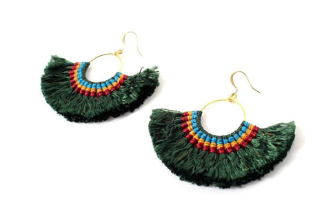 Half Moon 3 Color Tassel Earrings- Thailand NEW!