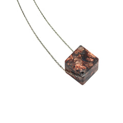 Sustainable Plant Based Eco-Resin Small Cube Pendant Necklace New!