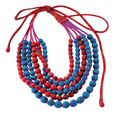 6 Strand Indian Sari Fabric Beaded Necklace