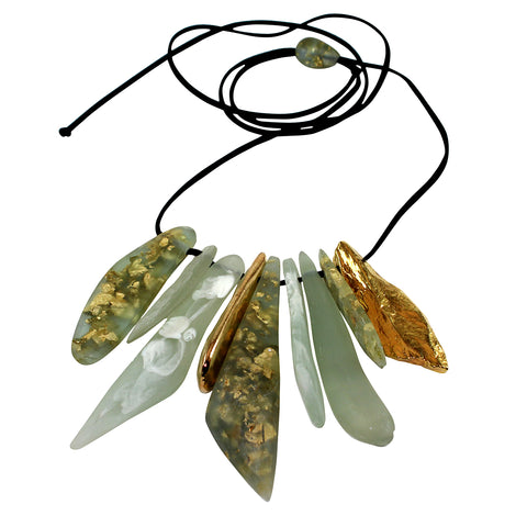 Sustainable Plant Based Eco-Resin Stone Adjustable Bib Necklace NEW