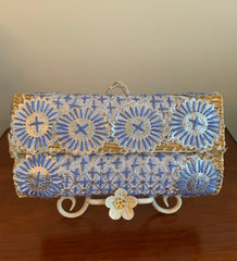 Serenity Blue/Silver Sequin and Embroidered Small Clutch