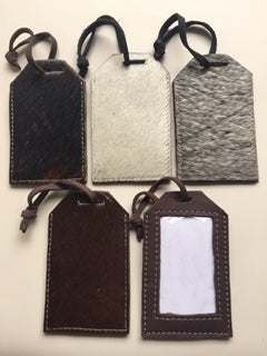 Cowfur and Leather Rectangular Luggage Tags