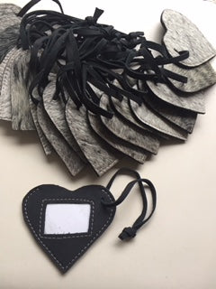 Cowfur and Leather Heart Luggage Tags NEW!