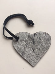 Cowfur and Leather Heart Luggage Tags