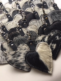 Cowfur and Leather Heart Keychains/Zipper Pulls NEW!