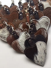 Cowfur and Leather Heart Keychains/Zipper Pulls