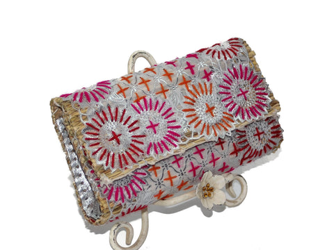 Pink Tangerine Silver Embroidered Small Clutch