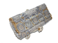 Silver and Grey Sequin and Embroidered Small Clutch