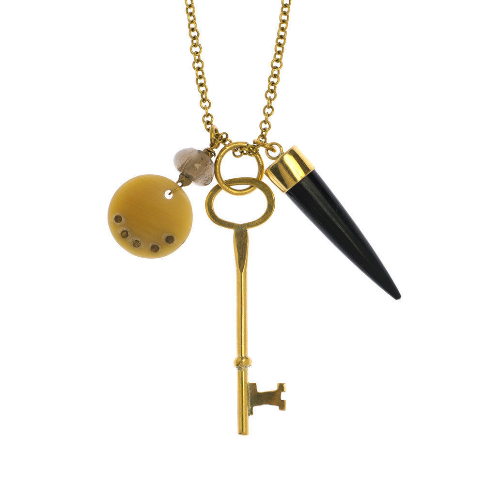 Brass Key Charm Necklace