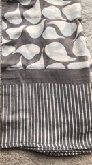 Hand-Blocked Printed Cotton Scarves - Leaf Natural/Grey
