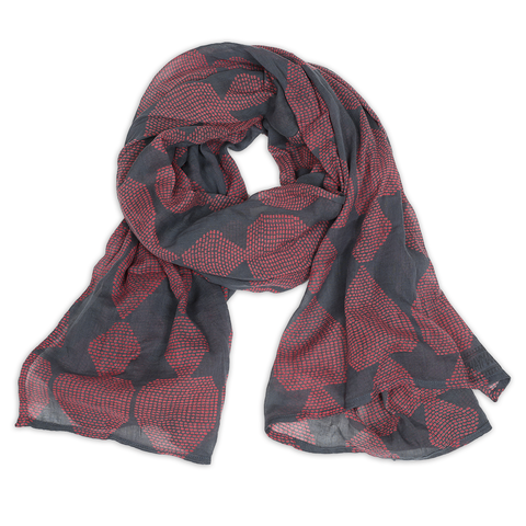 Hand-Blocked Printed Cotton Voile Scarves - Mosa Ruby