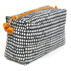 Hand-Blocked Printed Cotton Toiletry/Cosmetic Bags - Navy Dot