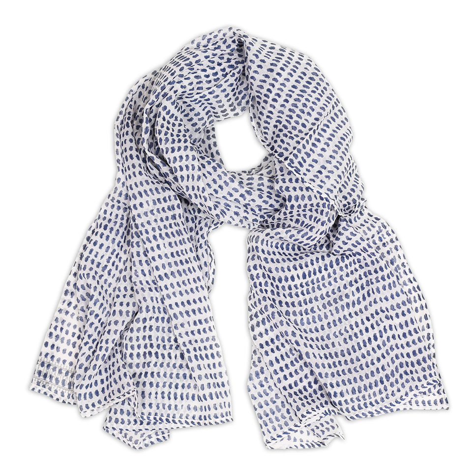 Hand-Blocked Printed Cotton Voile Scarves - Navy Dot