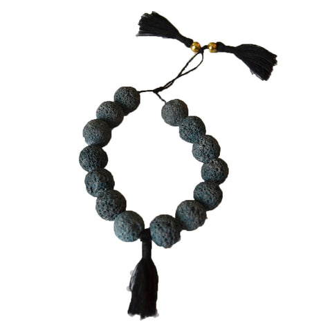 Lava Bracelet with Tassels Faded Black