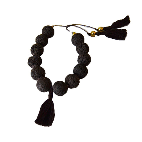 Lava Bracelet with Tassels Black
