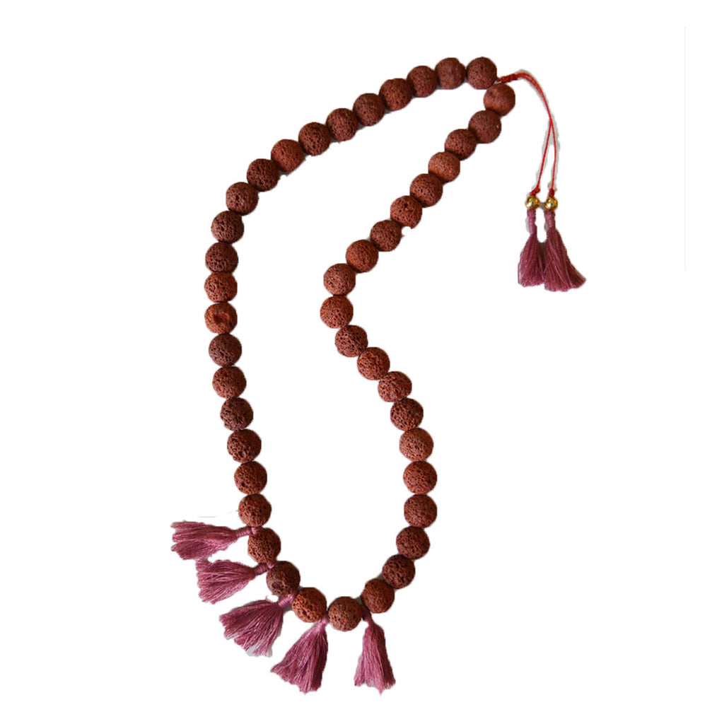 Lava Necklace with Tassels Faded Cranberry