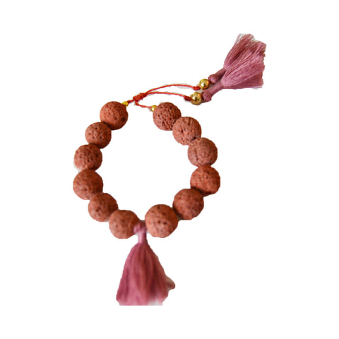 Lava Bracelet with Tassels Faded Cranberry