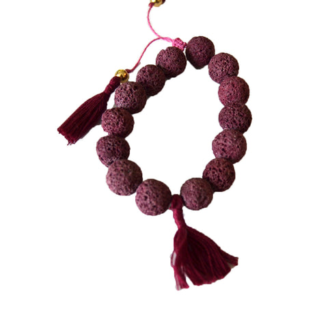 Lava Bracelet with Tassels Cranberry