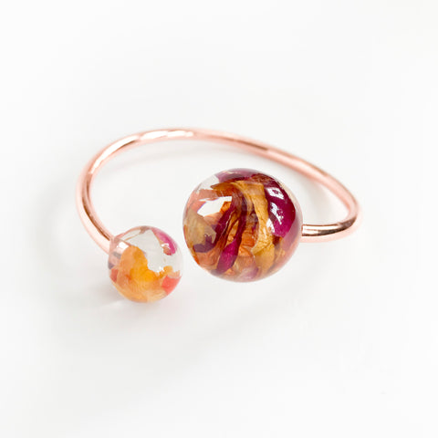 Sustainable Plant Based Eco-Resin Adjustable Orb Cuff Bracelets - Botanicals