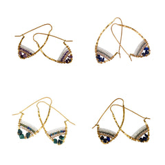 Hammered Brass Beaded Earth Collection Hoops