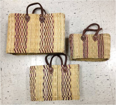 Small Bulrush Basket with Leather Handles - Cranberry/Natural