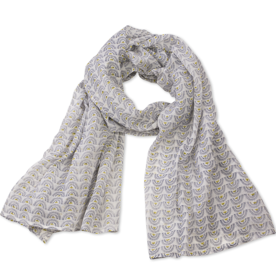 Hand-Blocked Printed Cotton Voile Scarves - Soleil Chartreuse