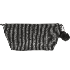 Hand-Blocked Printed Cotton Makeup Pouch - Alice Stripes Midnight