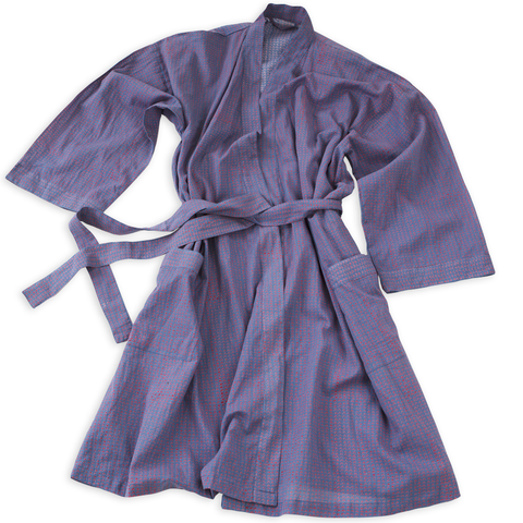 Hand-Blocked Printed Cotton Robe - Beckett Blue NEW!