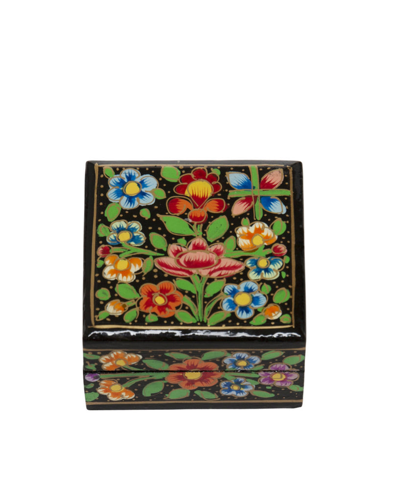 Hand Painted Mini Square Floral Boxes Black Multi