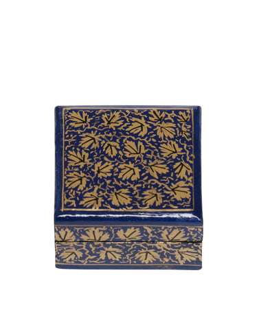 Hand Painted Mini Square Floral Boxes Sapphire Blue Gold