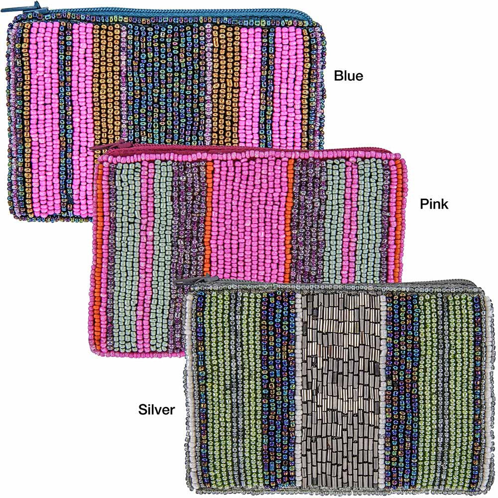Beaded Stripe Coin Purses