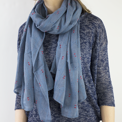 Hand-Blocked Printed Cotton Voile Scarves - Gaia Sky