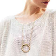 Hexagon Pendant Brass Necklace New!
